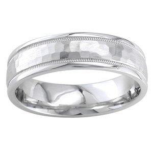Women's 14k White Gold Hammered Comfort-Fit Wedding Band (6.00 mm)