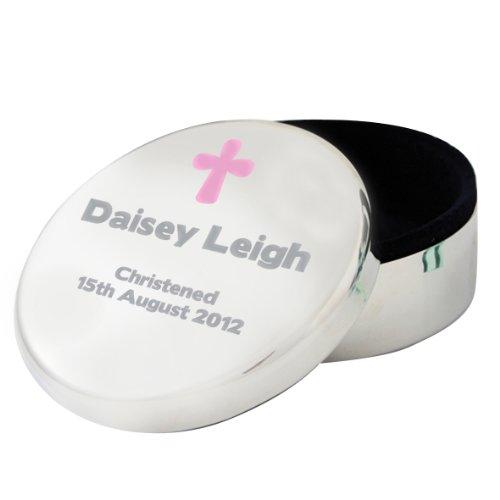 Personalised Pink Cross Round Trinket Box
