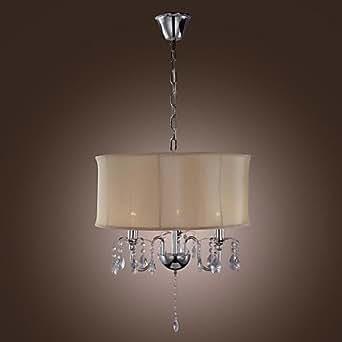 40w e14 tessuto e paralume lampadario di cristallo con 3 for Lampadari di tessuto