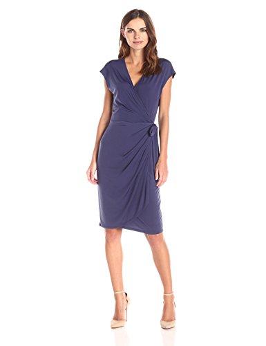 Lark + Ro Women's Cap Sleeve Wrap Dress, Navy, Small