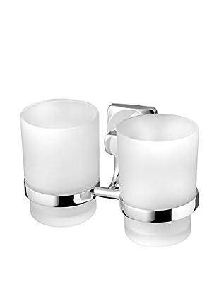 Bisk Set Vaso Baño 2 Uds. Ice Double cromo 20.5x18.5x9.5 cm