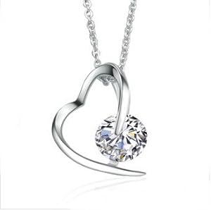 925 Sterling Silber österreichischen Kristall Herz Form Anhänger Halskette mit sterling silber 45cm Kette