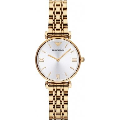 Emporio Armani GIANNI T-BAR AR1877 - Reloj para mujeres, correa de acero inoxidable chapado color dorado