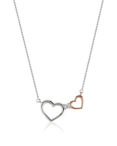 Divas Diamond Collana Diamond Gold Two Heart Necklace