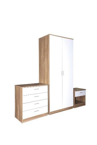 Ottawa Caspian White / Oak Gloss Bedroom 3 Piece Furniture Package