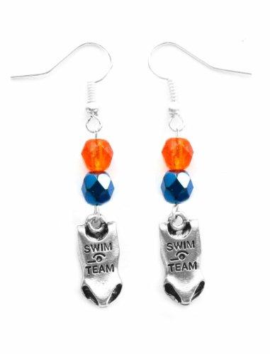 """Swim Suit"" Swimming Earrings (Team Colors Orange & Navy Blue)"