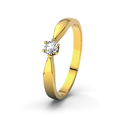 21DIAMONDS Kirsten Engagement Ring Brilliant Cut White Topaz 14 carat (585) Yellow Gold Ladies Engagement Ring