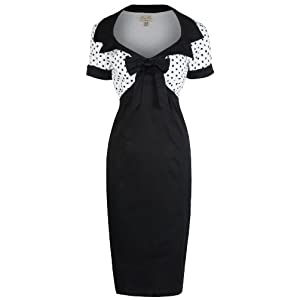 Lindy Bop 'Laney' Chic Vintage 50's Style Black Bengaline Pencil Wiggle Dress (2XL)