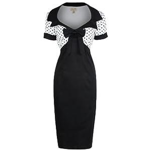 Lindy Bop 'Laney' Chic Vintage 50's Style Black Bengaline Pencil Wiggle Dress (2XL)