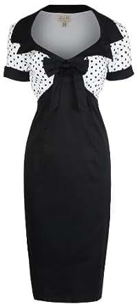 """Lindy Bop """"Laney"""" Vintage Chic Des Années 1950 De Style De Crayon De Coton Wiggle Robe (36, Noir)"""