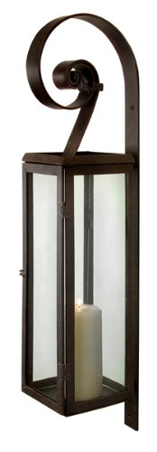 B0042QUL9I 28″ Rustic Scroll Rectangular Pillar Candle Lantern Wall Sconce
