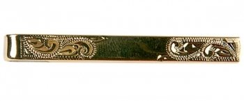 Gold Engraved Tie Bar With Centre Space
