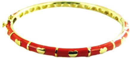 14ct Gold-plated Hinged BANGLE, finished in Red Enamel with Gold hearts and lines to fit ages 1 to 3 (40mm)