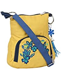 Pick Pocket Yellow Canvas Sling Bag With Blue Embroidery