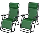 Mega Zero Gravity Outdoor Infinity Patio Deck Folding Adjustable Lounge Pool Beach Recliner Chairs - 2 pack (Green)