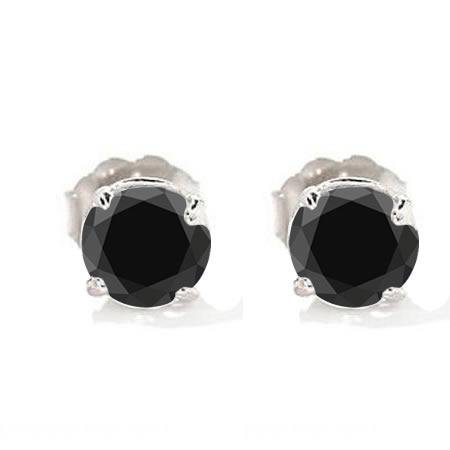 1 Ct Black Diamond Stud Earrings 14k White Gold