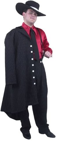 Adult Zoot Suit Costume Color: Red/Black (Size: X-Large 46-48)