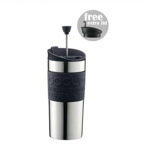 BODUM TRAVEL PRESS Stainless Steel Coffee/Tea maker with extra lid 0.35 l /12 oz - Black