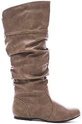 Qupid Women's Leatherette Basic Slouchy Knee High Flat Boot BLACK 6