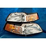 "1999 - 2004 CHROME MUSTANG HEADLIGHT SET WITH FREE XENON BULBS ""BRAND NEW"" --- 2000 2001 2002 2003 FORD MUSTANG COBRA GT 99 00 01 02 03 04 HEADLIGHTS HEADLAMPS HEADLAMP Reviews"