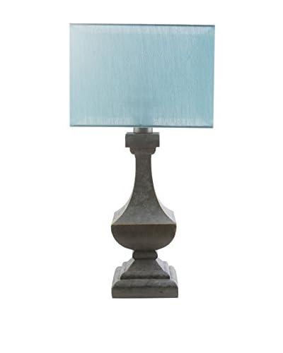 Surya Davis Outdoor Table Lamp, Aqua/Antique Pewter