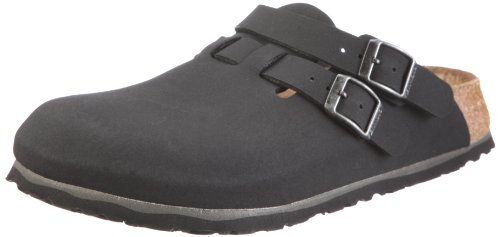 BIRKIS Kay Womens Clogs Soft footbed Birko-Flor, black nubuk , Size 44 EU with a narrow insole