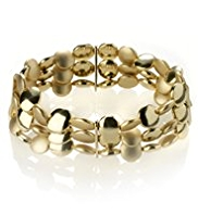 M&S Collection Gold Plated Slinky Nugget Stretch Bracelet