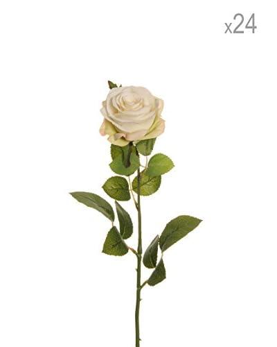 Evergreens Composizione 24 Ramo Di Bocciolo Di Rosa Crema 64 Cm