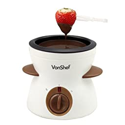 VonShef Electric (340ml / 11.5oz) Chocolate Fondue Melting Pot, Warmer, Chocolatier - Includes FREE Spatula, 10 Skewers & 10 Forks