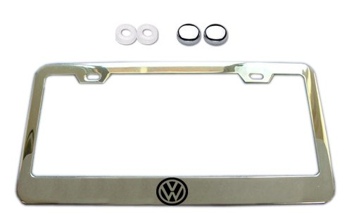Volkswagen VW Logo Chrome License Plate Frame w/ Screw Covers (Vw License Plate Frame For Women compare prices)