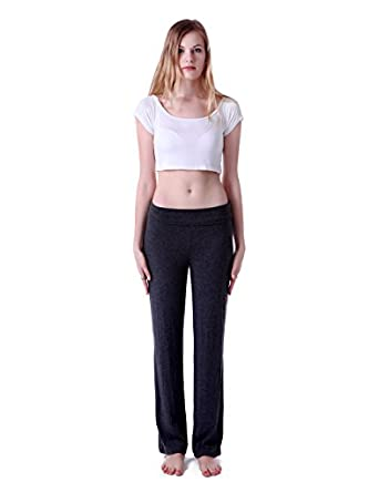 HDE Women's Slimming Fold Over Rolled Waist Bootleg Flare Yoga Pants (Charcoal, Small)