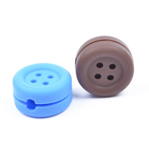 Case Star ® 2 Pcs Assorted Colors (Brown, Blue) Button-Shaped Heavy Duty Silicone Bobbin Winder Wrap Organizers For Earphone/Ear Bud Cord With Case Star Velvet Bag