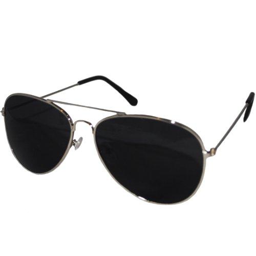 Aviator Style Sunglasses - Unisex Shades Top Gun UV400 Mens Ladies (Silver Frame Black Lens)