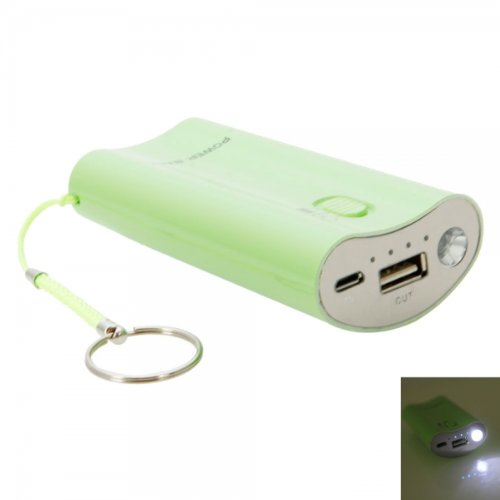 Marzey Green 5200 Mah Flashlight Portable Mobile Power Bank Charger With Led Light For Blu Dash Music 4.0