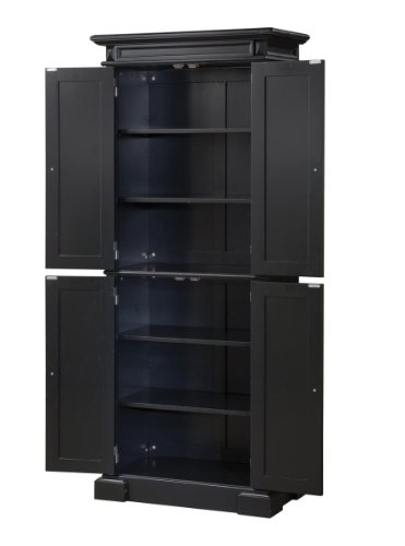 Home Styles 5004 694 Americana Pantry Storage Cabinet Black Finish Furniture Cabinets Pantries