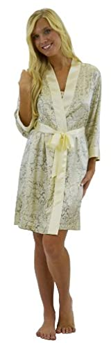 Silk Kimono Robe with 3/4 sleeves - Lace print