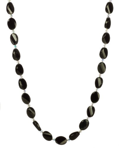 Black Onyx Flat Faceted Oval and Swarovski Elements Crystal AB Necklace with Sterling Silver Clasp, 18
