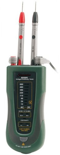Mastech MS8906 4-in-1 AC/DC Voltage, Continuity & Phase Sequence Tester with Built-in LED Flashlight