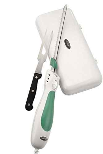 Oster FPSTEK2802 Accentuate Electric Knife and Case with Storage Case and Fork, Green