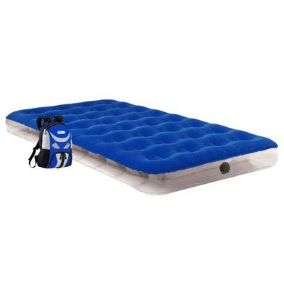 Aerobed 05111 Twin Blue Overnighter Inflatable Aero Air Bed Mattress With Lightweight Backpack