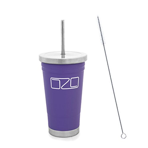 The Tumbler by OZO - Premium Stainless Steel Vacuum Insulated Travel Mug, Hot or Cold Drinks with Straw and Brush, 16oz capacity, in Matte Purple