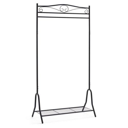 Garderobe-Metall-schwarz-Kleiderstnder-mit-Schuhablage-Breezy-ca-90-x-46-x-172-cm