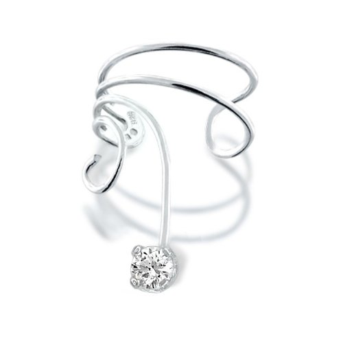 Bling Jewelry Cubic Zirconia Ear Cuff Left Ear Wave 925 Sterling Silver
