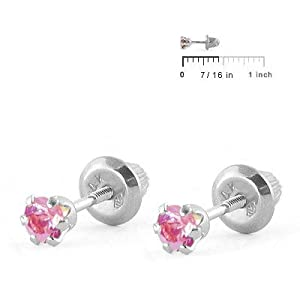 Baby Jewelry - 14K White Gold Pink Birthstone Screw Back Earrings