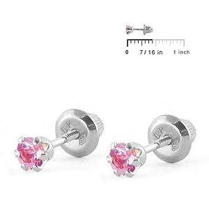 Baby Jewelry - 14K White Gold Pink Birthstone Screw Back Earrings