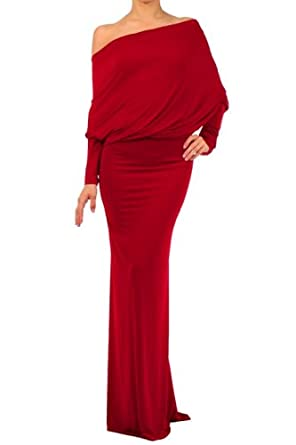 MULTI WAY Reversible PLUNGING Convertible MAXI DRESS Off One Shoulder Halter - Red - Small