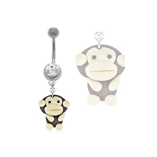 Amazon.com: Super Cute Monkey dangle Belly navel Ring