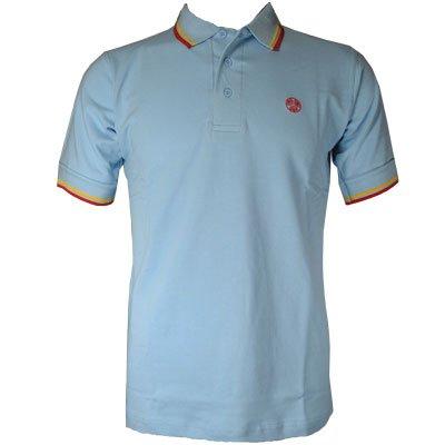 Raiken Twin Tipped Polo T Shirt Mens Sky-Blue Size L