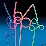 """Fun Express - Plastic Assorted Fun Loop Neon Two-Tone Straws, 10 1/2"""""""