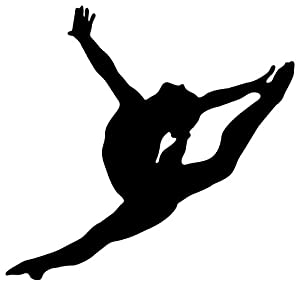Wallmonkeys WM54227 Gymnastics Silhouette Style Graceful Leap Peel and